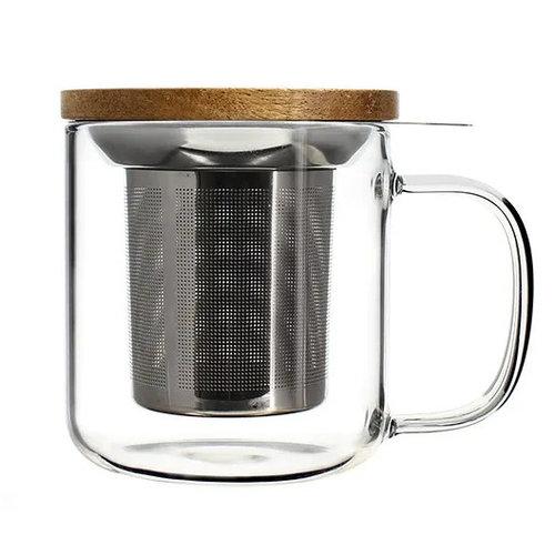 Glazen theekop met filter 300 ml