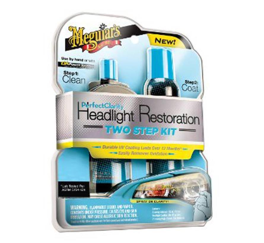 Meguiars Perfect Clarity Headlight Restoration Kit (118ml Cleaner/188ml Coating/2 Pads)