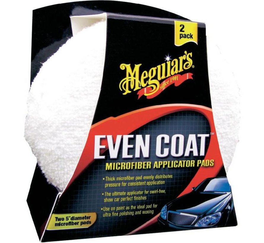 Meguiars Even-Coat Microfibre Applicator Pads - Diameter 12.7cm, Set a 2 stuks