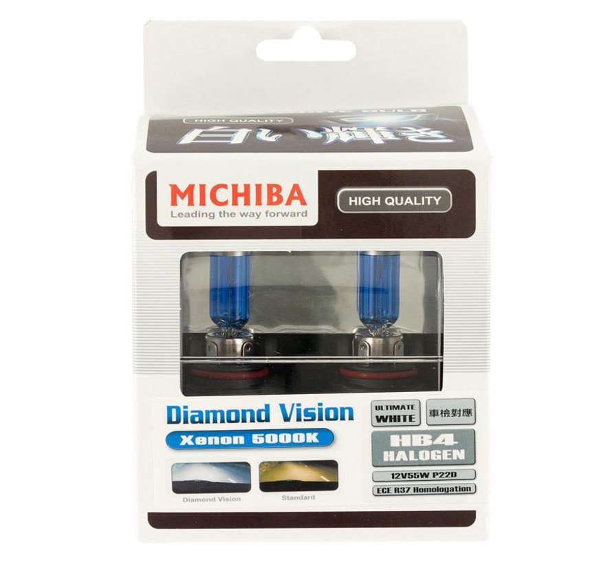 SuperWhite Blauw HB4 (9006) 55W/12V/4800K Halogeen Lampen, set a 2 stuks (E13)