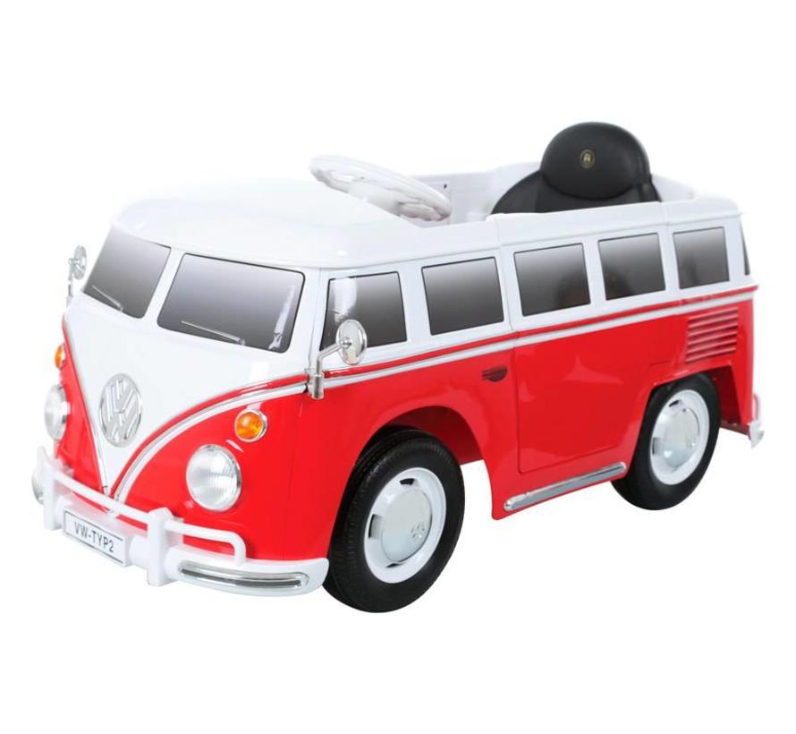 Accu-Auto Volkswagen Transporter T1 Rood/Wit - 12V - incl. MP3 en afstandsbediening - vanaf 3 jaar