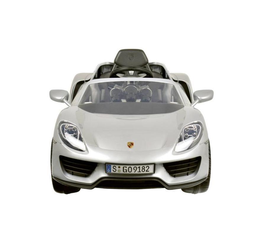 Accu-Auto Porsche 918 Spider Zilver - 12V - incl. MP3 en afstandsbediening - vanaf 3 jaar