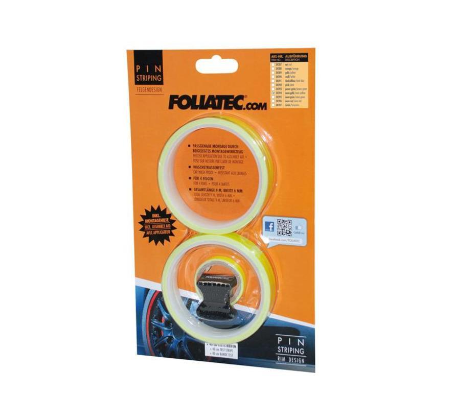 Foliatec PIN Striping voor velgen incl. montage hulpstuk - neon geel - 4 strips 6mmx2,15meter & 1 testrol 6mmx40cm