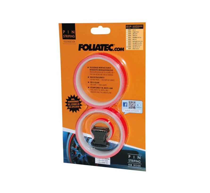 Foliatec PIN Striping voor velgen incl. montage hulpstuk - neon rood - 4 strips 6mmx2,15meter & 1 testrol 6mmx40cm
