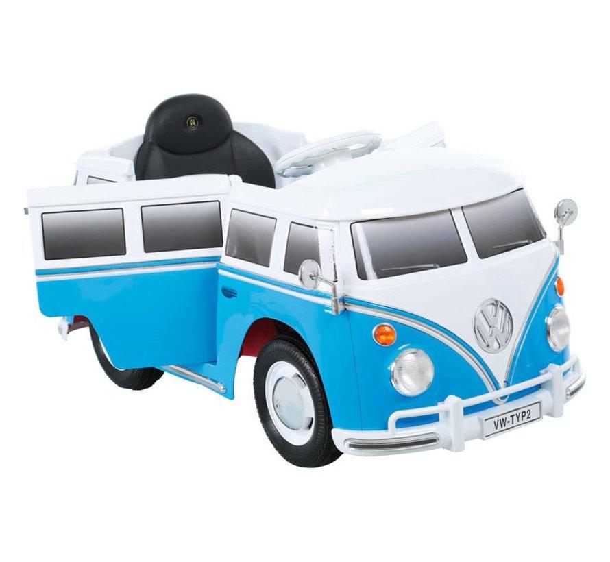 Accu-Auto Volkswagen Transporter T1 Blauw/Wit - 12V - incl. MP3 en afstandsbediening - vanaf 3 jaar