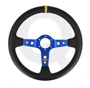 QSP products QSP Sportstuur leer, 3-spaak, verdiept 90mm, Spaak= blauw