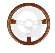 QSP products QSP Sportstuur hout look, 3-spaak, vlak, Spaak=zilver, 345mm