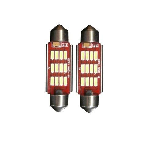 Xenonlamp 12 LED C10W 42mm High Power Canbus kentekenverlichting wit