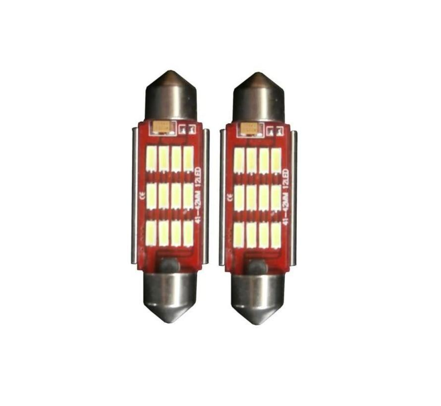 12 LED C10W 42mm High Power Canbus kentekenverlichting wit