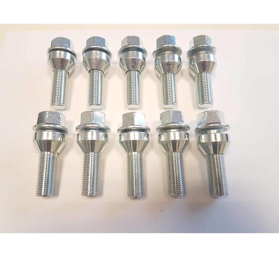 Wielbout M14x1,5x40 loose Conisch 60graden silver (10 stuks)