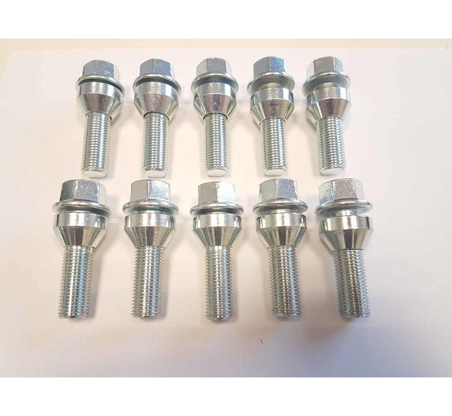 Wielbout M14x1,5x45 loose Conisch 60graden silver (10 stuks)