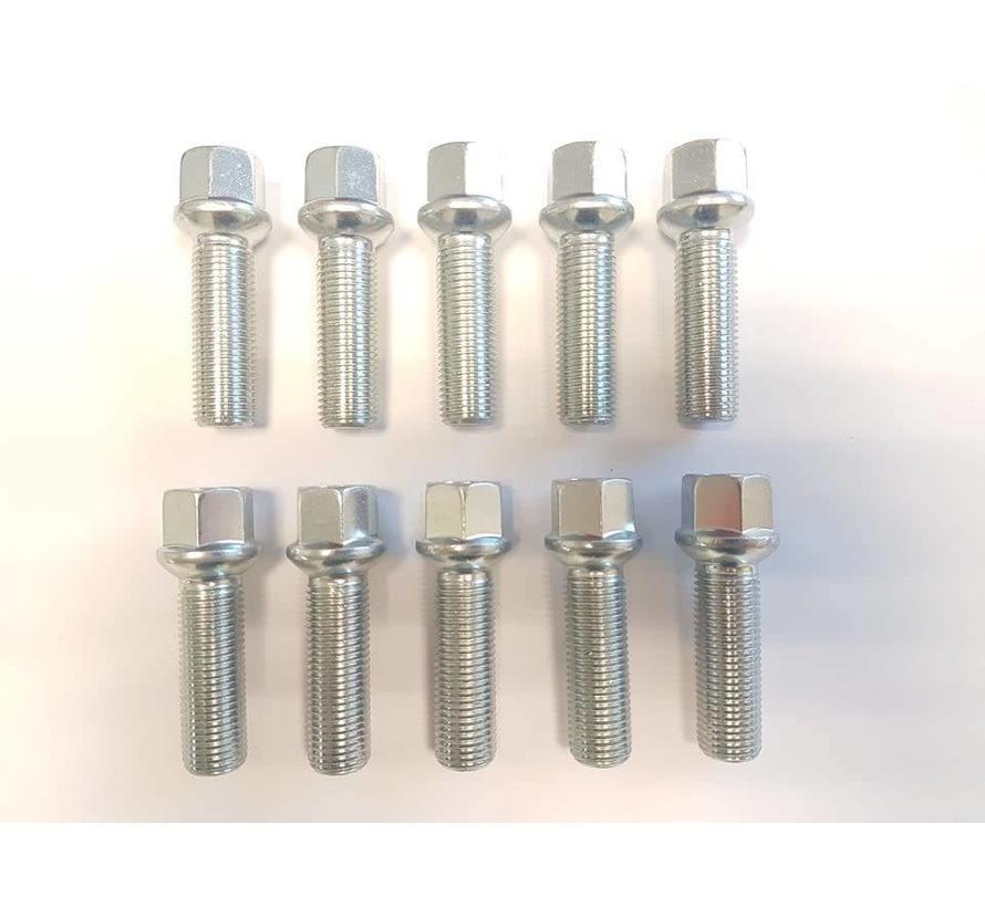 Wielbout M12x1,5x32mm Bolconisch R12 silver (10 stuks)