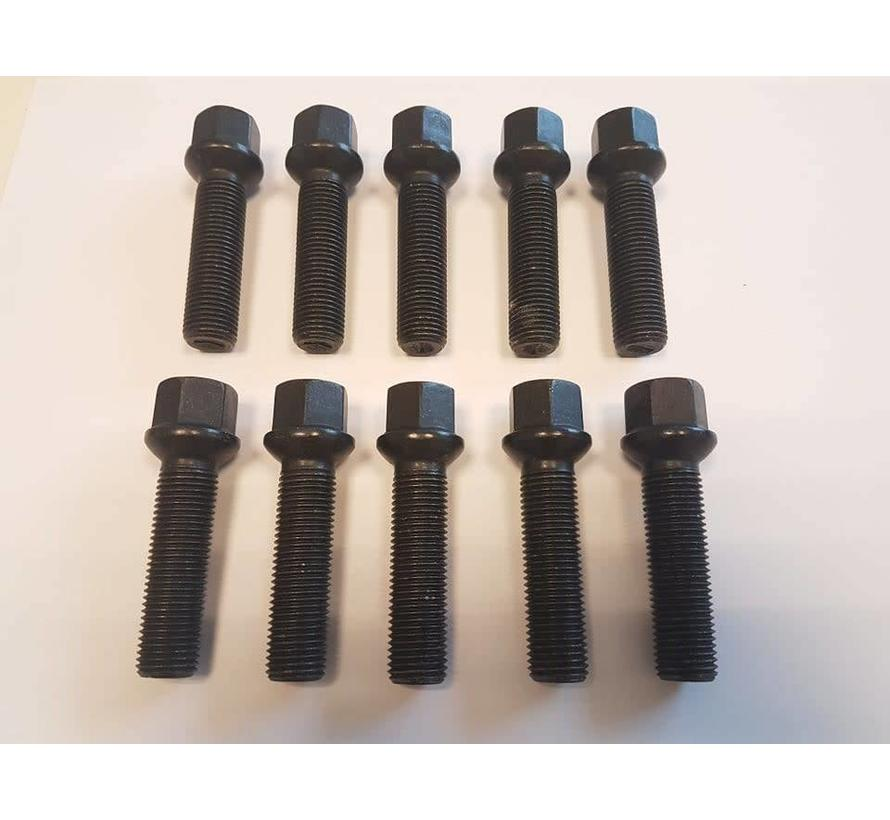 Wielbout M12x1,5x50 Bolconisch R12  black (10 stuks)