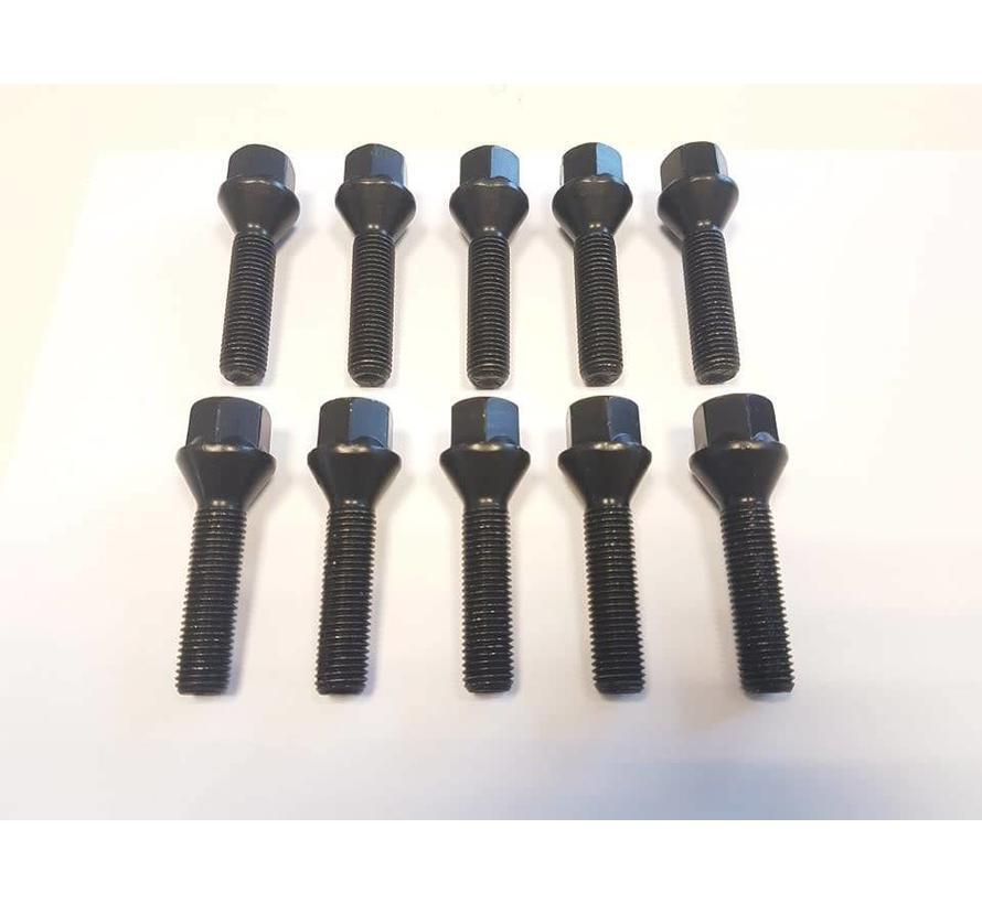 Wielbout M12x1,25x55mm Conisch 60graden black (10 stuks)