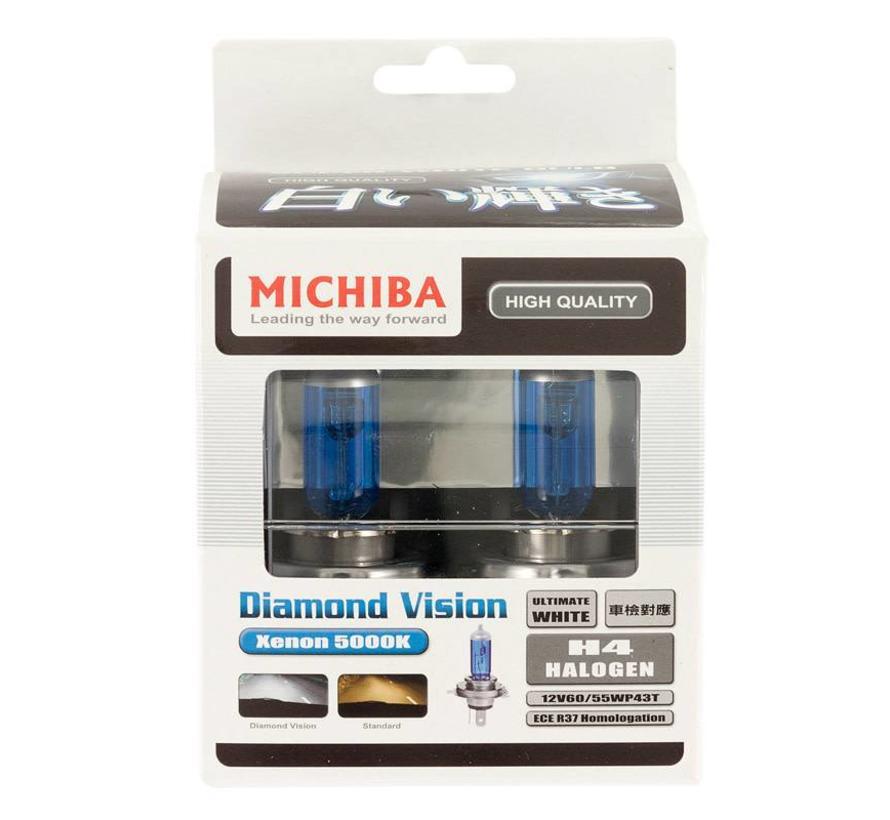 SuperWhite Blauw H4 60-55W/12V/4800K Halogeen Lampen, set a 2 stuks (E13)