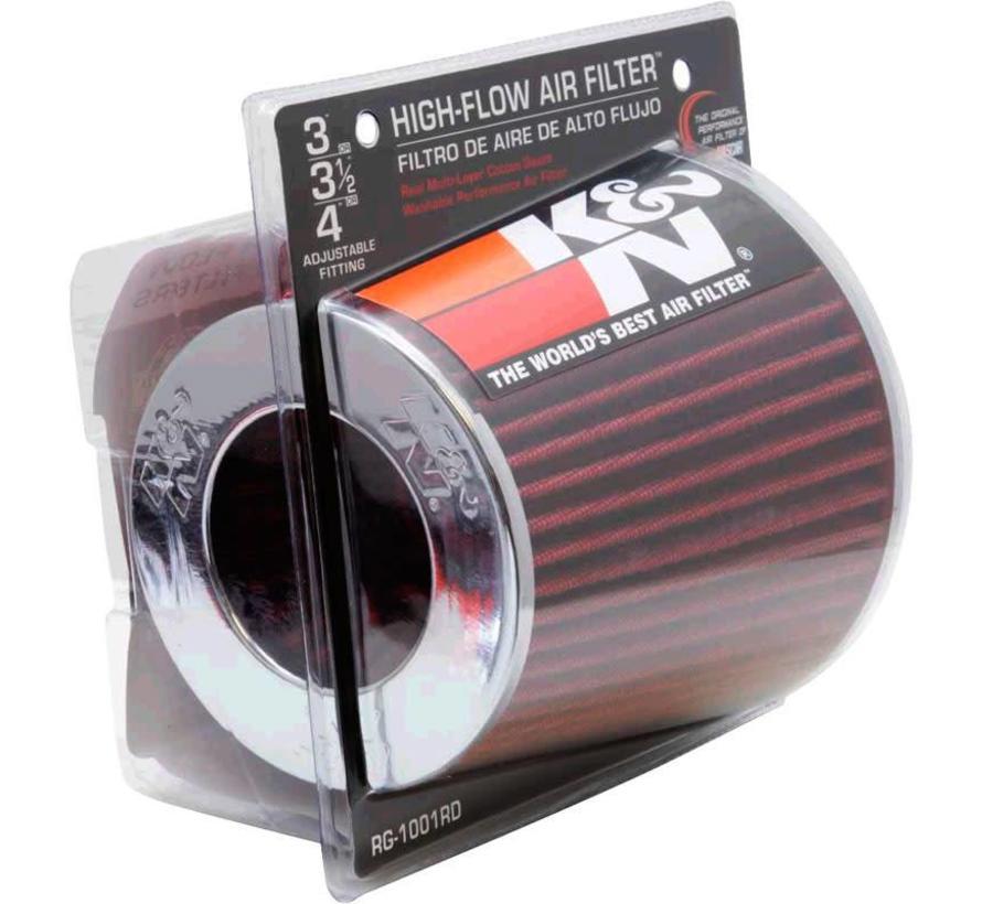 K&N RG-Serie universeel vervangingsfilter met 3 aansluitdiameters Rood (RG-1001RD)