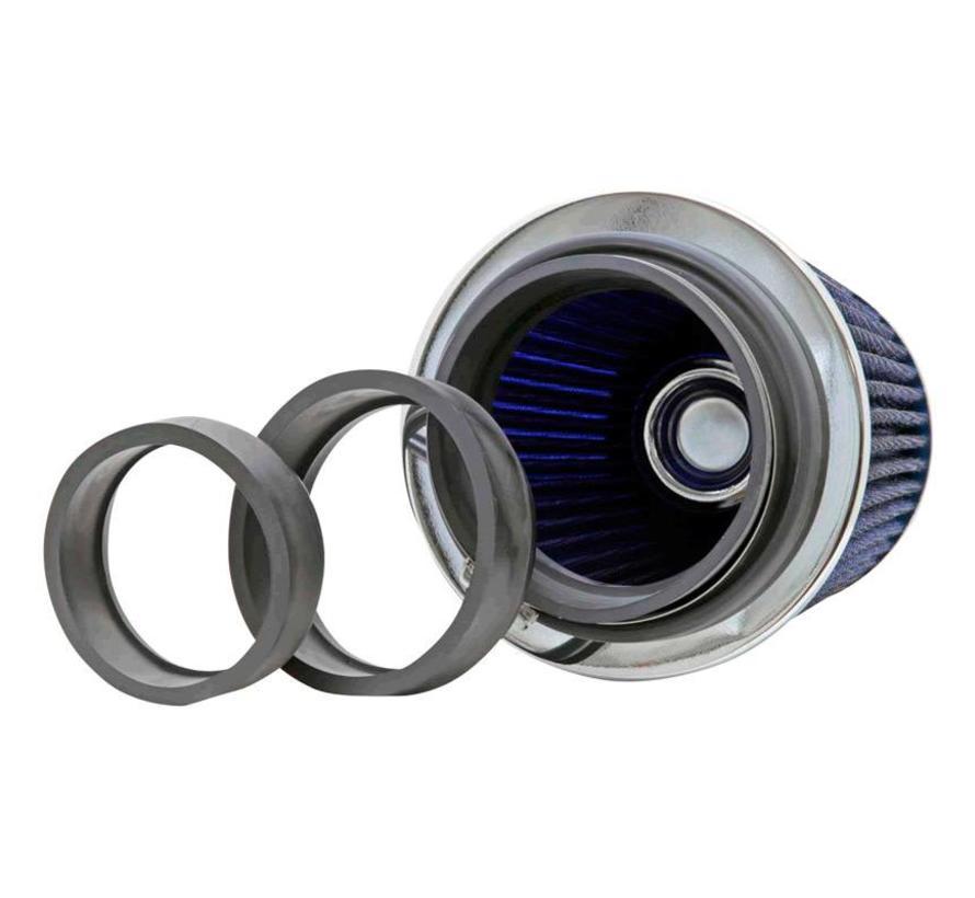 K&N RG-Serie universeel vervangingsfilter met 3 aansluitdiameters Blauw (RG-1001BL)