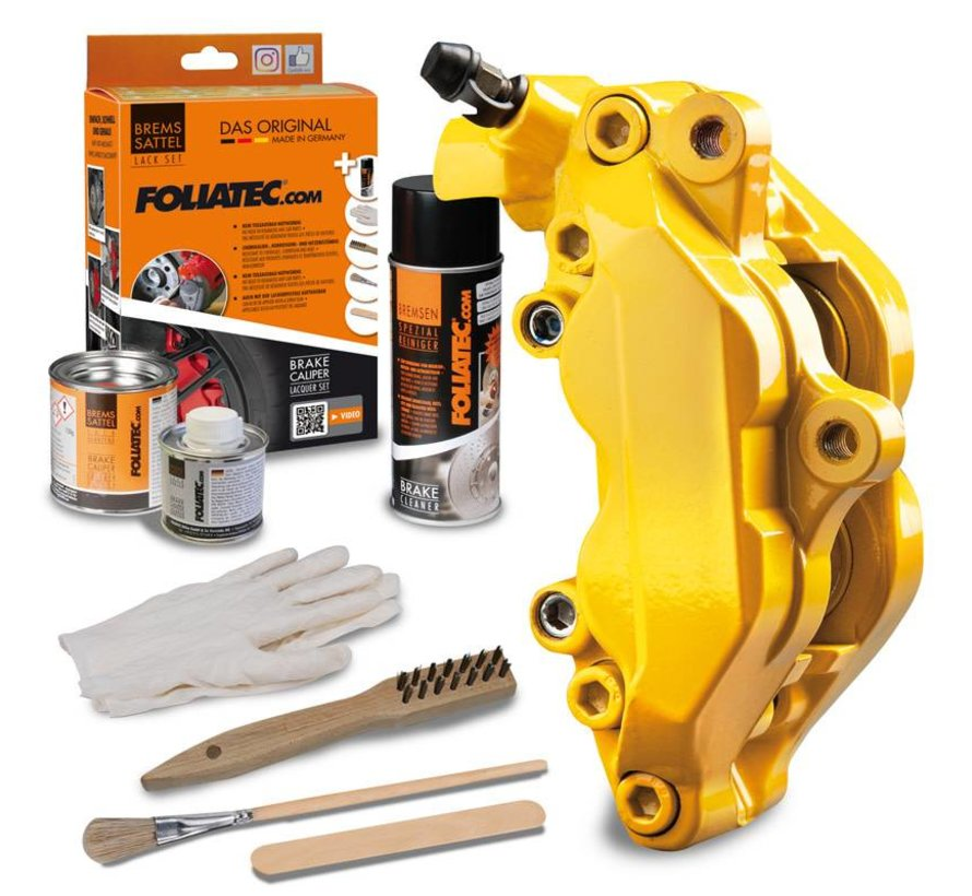Foliatec Remklauwlakset - Performance Geel Glanzend - 3 Komponenten