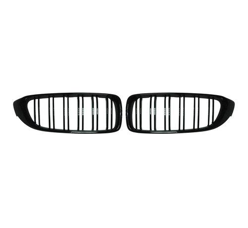 Autostyle Glanzend zwarte Grills BMW 4-Serie F32/F33 2014-2016 & M3 F80 & M4 F82 'M-Style