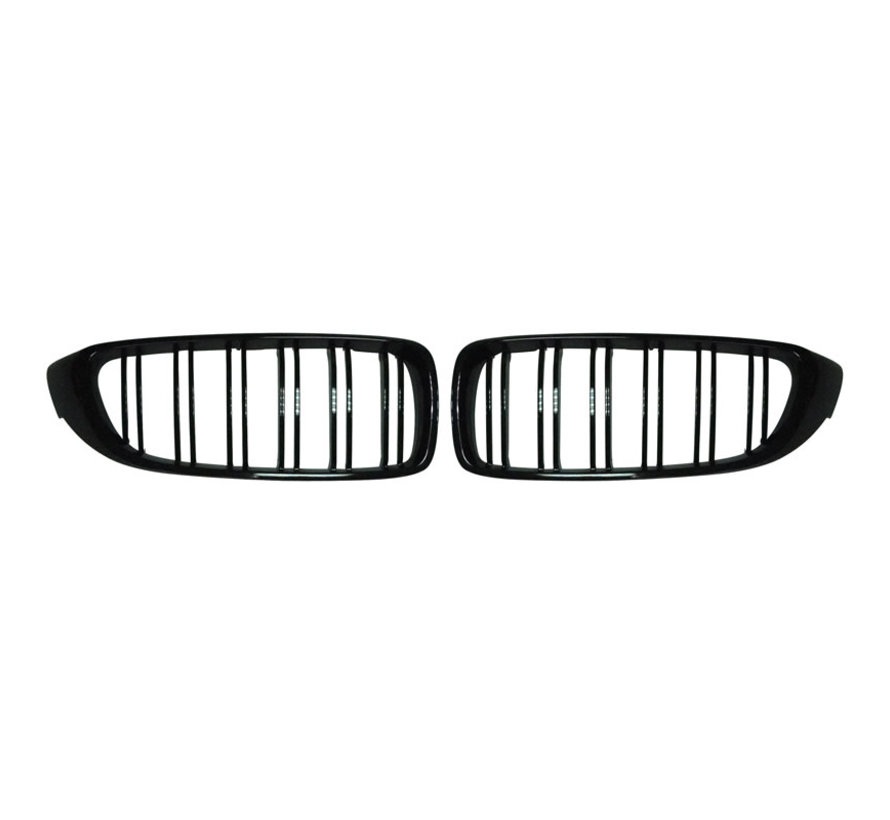 Glanzend zwarte Grills BMW 4-Serie F32/F33 2014-2016 & M3 F80 & M4 F82 'M-Style