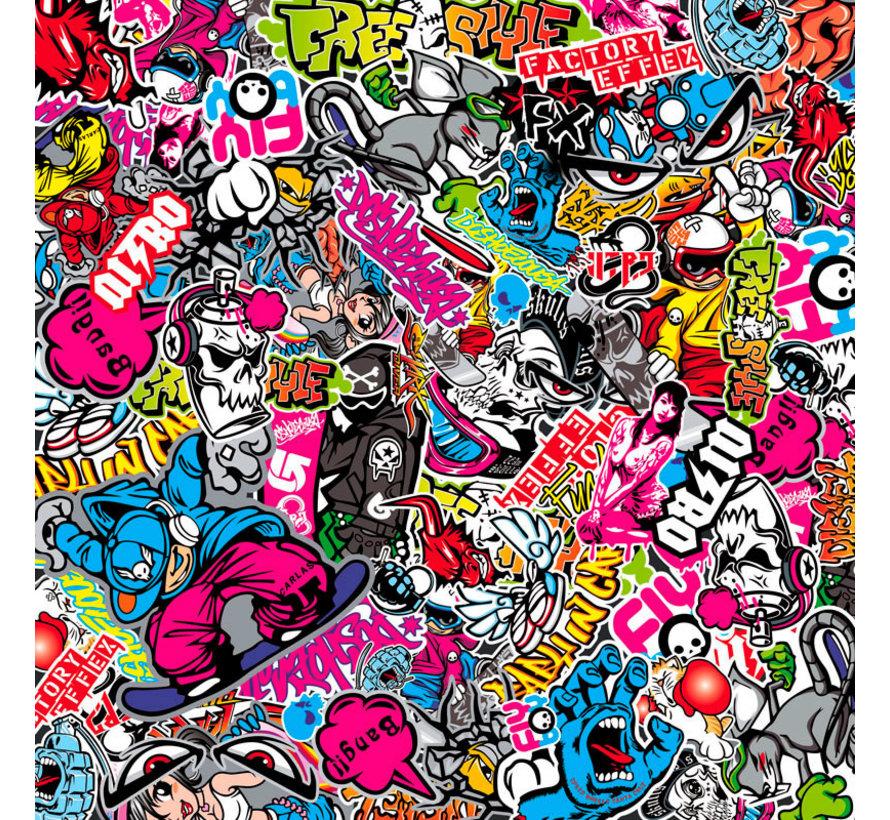 Stickerbomb Folie - Graffiti design 1 - Rol 60x200cm - zelfklevend