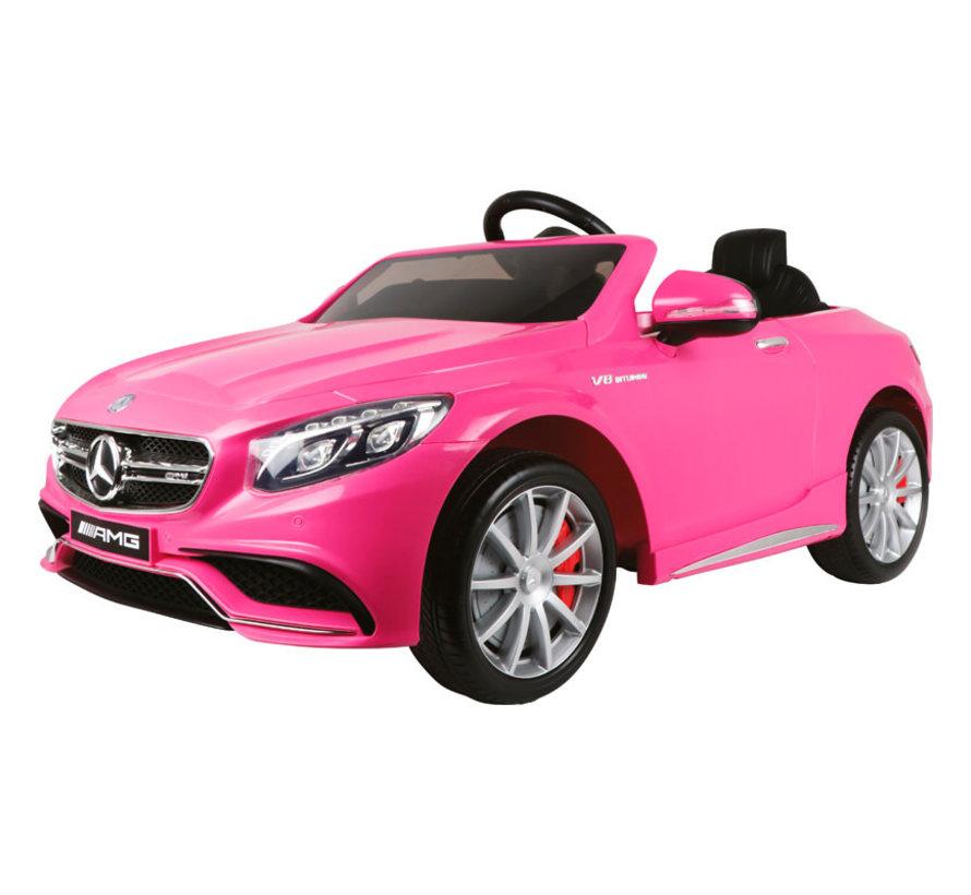 Accu-Auto Mercedes S63 Roze - 12V - incl. MP3 en afstandsbediening - vanaf 3 jaar