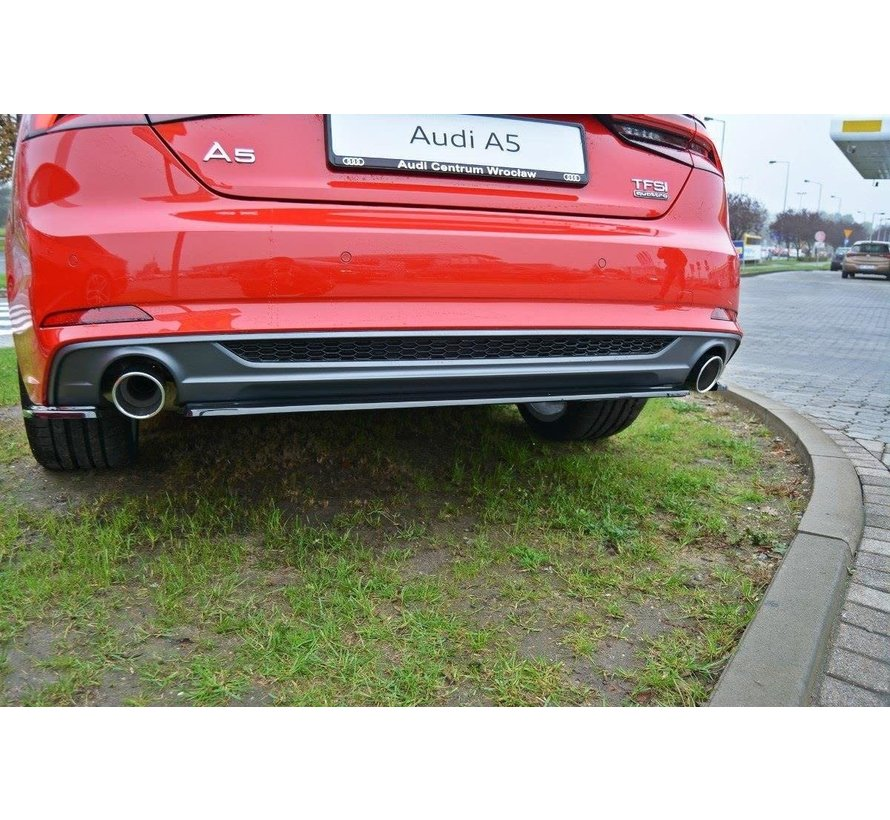 Maxton Design CENTRAL REAR DIFFUSER AUDI A5 S-LINE F5 COUPE / SPORTBACK (WITHOUT VERTICAL BARS)