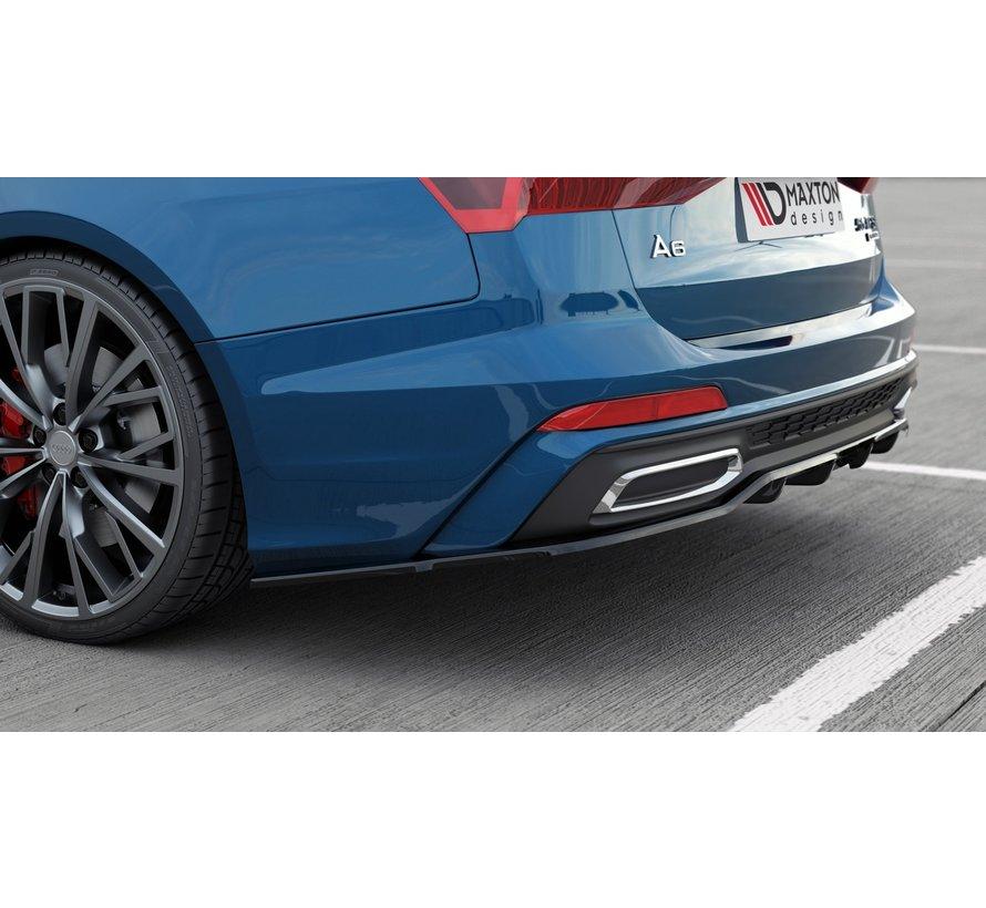 Maxton Design CENTRAL REAR DIFFUSER (with vertical bars) Audi A6 S-Line Avant C8