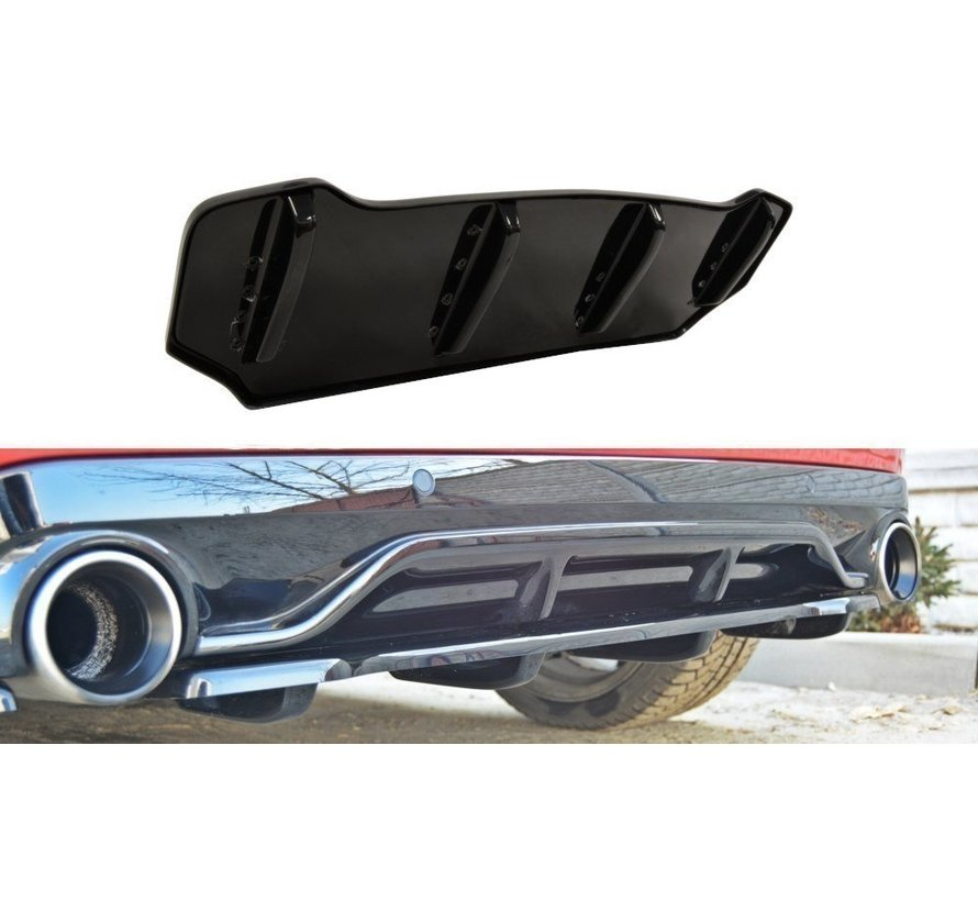 Maxton Design CENTRAL REAR DIFFUSER PEUGEOT 308 II GTI (with vertical bars)