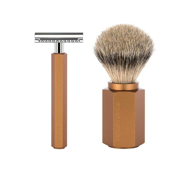 Scheerset Hexagon - Bronze - Saf.Razor - Dashaar
