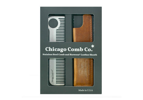 Chicago Comb Co. Giftbox Model No. 1 RVS + Hoesje