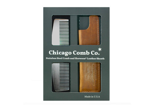 Chicago Comb Co. Giftbox Model No. 3 RVS + Hoesje