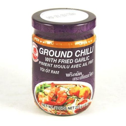 Cock Brand Ground Chilli with Fried Garlic 227g best before 08/2018