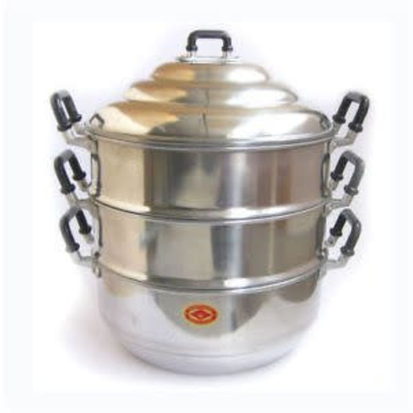 Double Happiness Aluminium Steamer 3 Tier Pot with Lid -22cm