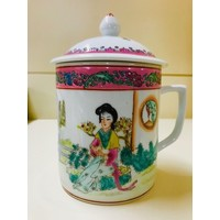 Double Happiness Chinese Tea Mug with Lid (White)