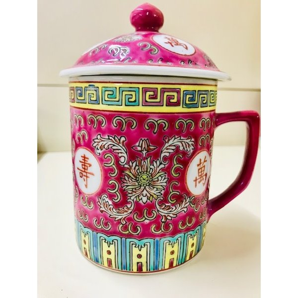 Double Happiness Chinese Tea Mug with Lid (Red)