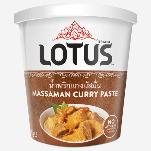 Lotus Massaman Curry Paste 400g BUY ONE GET ONE FREE - ANY FLAVOUR. Please add a message in your order for Flavours and Quantity you want.