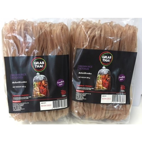 Grab Thai Rice Noodles -  Brown  200g