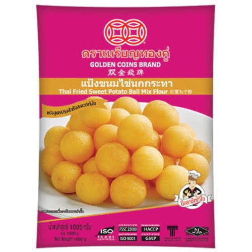 Golden Coins Brand Thai Fried Sweet Potato Ball Flour 1kg SPECIAL OFFER Best Before 11/21