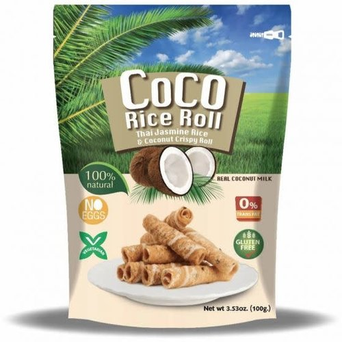 COCO RICE ROLL Thai Jasmine Rice & Coconut Roll Pandan Flavour 100g (GLUTEN FREE)