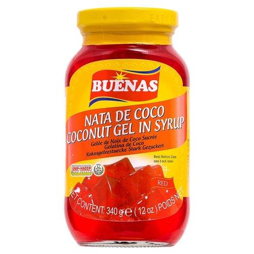 Buenas Nata De Coco Coconut Gel In Syrup (Red) - 340g