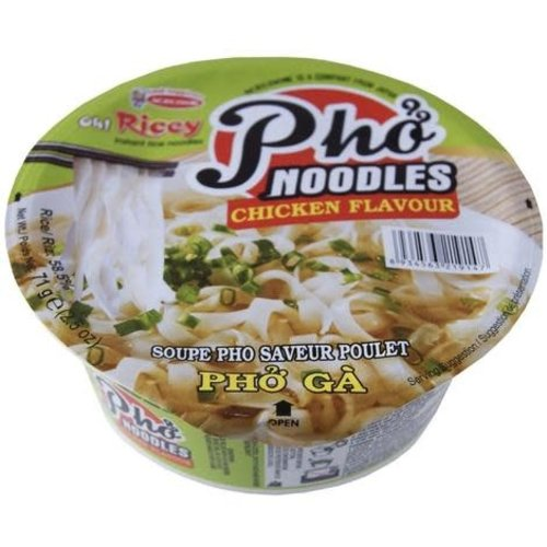 Acecook Oh Ricey Instant Rice Noodle Cup - Pho Noodles Chicken Flavour 71g