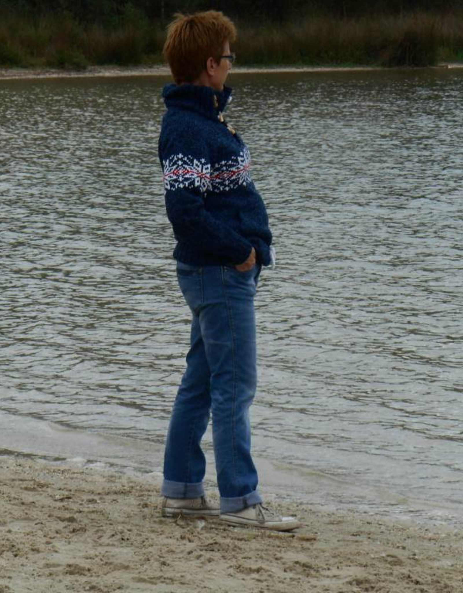 """""""Lomba"""" wollen Noorse trui in jeansblauw"""