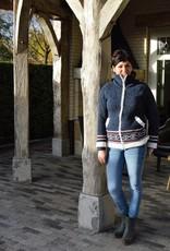 """Torres"""" in jeansblauw met rits en ingebreid motief"""