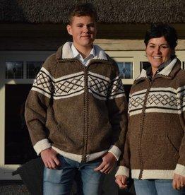 """""""Douro"""" Gebreid wollen vest met rits in bruin."""