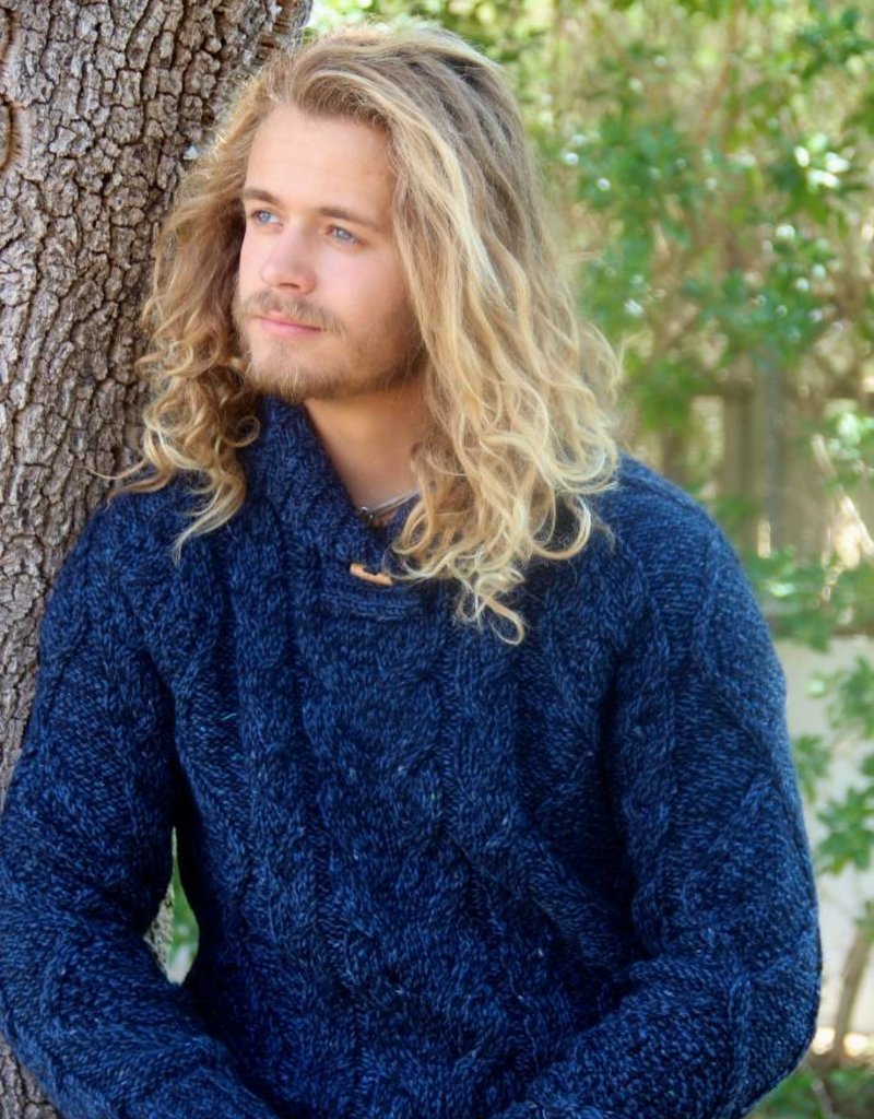 "Original south Wollen trui met kabels in blauw ""Cesar"""