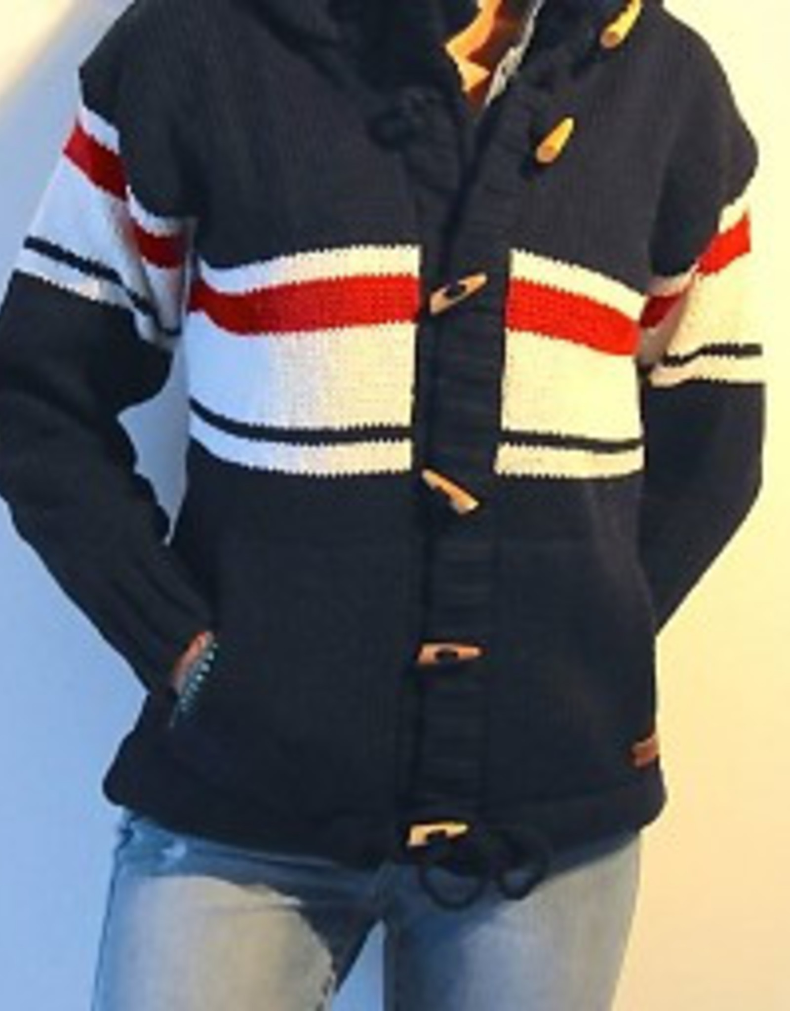 "Original south Wollen vest met strepen in blauw ""Granja"""