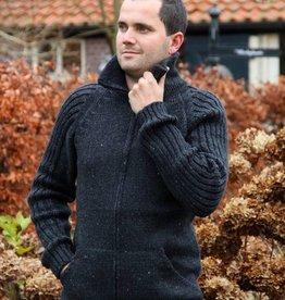 """""""Porto"""" Gebreid wollen vest met rits en kraag in antraciet-grijs."""