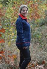 """""""Velas"""" wollen trui met rits in jeansblauw met rood"""