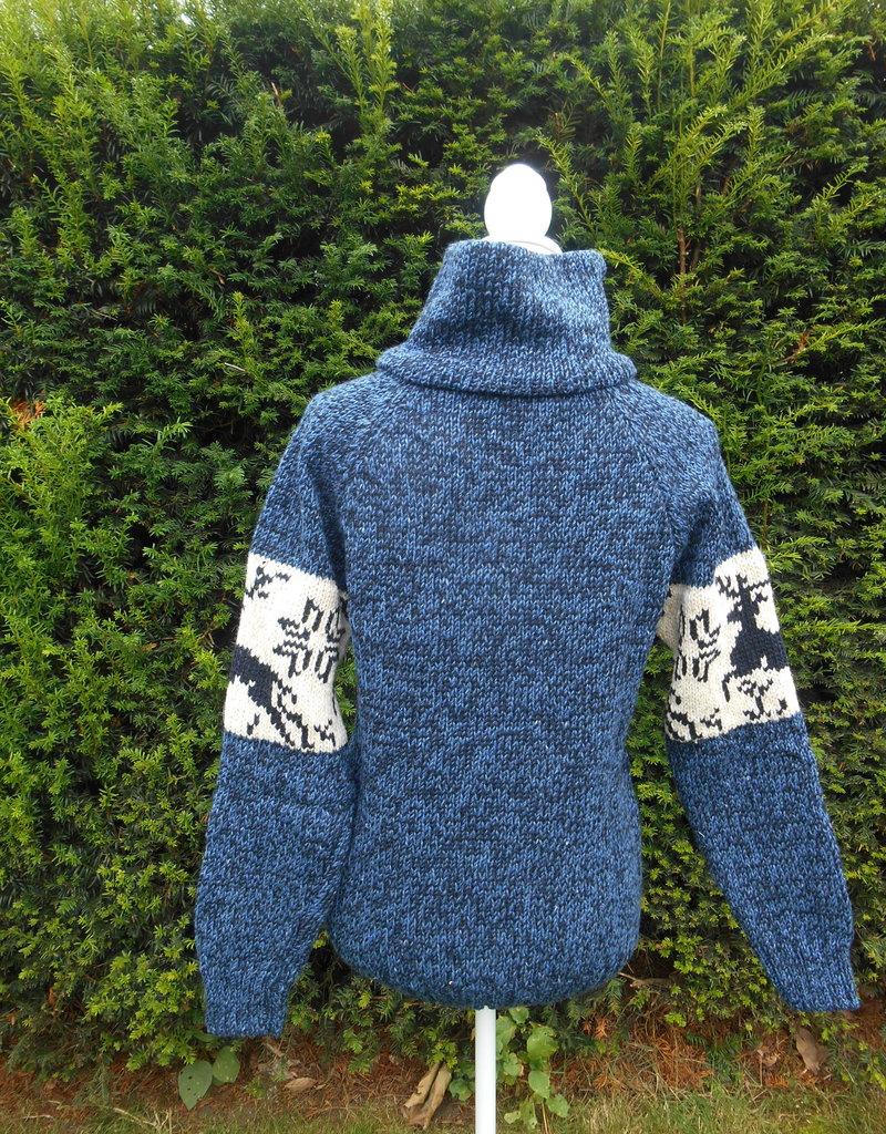 "Portugesewol Noorse trui ""Caria""in jeansblauw"